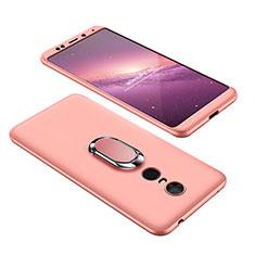 Coque Plastique Mat Protection Integrale 360 Degres Avant et Arriere Etui Housse avec Support Bague Anneau pour Xiaomi Redmi 5 Plus Or Rose