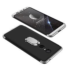 Coque Plastique Mat Protection Integrale 360 Degres Avant et Arriere Etui Housse avec Support Bague Anneau pour Xiaomi Redmi Note 5 Indian Version Argent