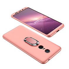 Coque Plastique Mat Protection Integrale 360 Degres Avant et Arriere Etui Housse avec Support Bague Anneau pour Xiaomi Redmi Note 5 Indian Version Or Rose