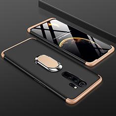 Coque Plastique Mat Protection Integrale 360 Degres Avant et Arriere Etui Housse avec Support Bague Anneau pour Xiaomi Redmi Note 8 Pro Or et Noir