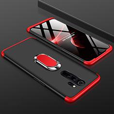 Coque Plastique Mat Protection Integrale 360 Degres Avant et Arriere Etui Housse avec Support Bague Anneau pour Xiaomi Redmi Note 8 Pro Rouge et Noir