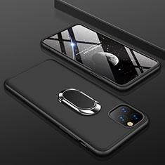 Coque Plastique Mat Protection Integrale 360 Degres Avant et Arriere Etui Housse avec Support Bague Anneau R01 pour Apple iPhone 11 Pro Max Noir