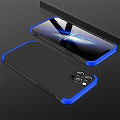 Coque Plastique Mat Protection Integrale 360 Degres Avant et Arriere Etui Housse M01 pour Apple iPhone 12 Pro Max Bleu et Noir