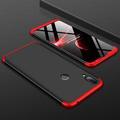 Coque Plastique Mat Protection Integrale 360 Degres Avant et Arriere Etui Housse M01 pour Huawei Y7 (2019) Rouge et Noir