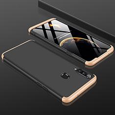 Coque Plastique Mat Protection Integrale 360 Degres Avant et Arriere Etui Housse M01 pour Samsung Galaxy A20s Or et Noir