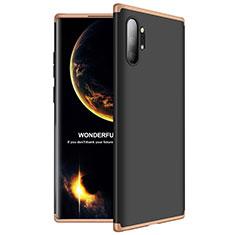 Coque Plastique Mat Protection Integrale 360 Degres Avant et Arriere Etui Housse M01 pour Samsung Galaxy Note 10 Plus Or et Noir