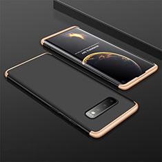 Coque Plastique Mat Protection Integrale 360 Degres Avant et Arriere Etui Housse M01 pour Samsung Galaxy S10 Or et Noir