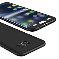 Coque Plastique Mat Protection Integrale 360 Degres Avant et Arriere Etui Housse M01 pour Samsung Galaxy S7 Edge G935F Noir