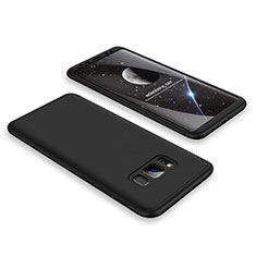 Coque Plastique Mat Protection Integrale 360 Degres Avant et Arriere Etui Housse M01 pour Samsung Galaxy S8 Plus Noir