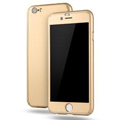 Coque Plastique Mat Protection Integrale 360 Degres Avant et Arriere Etui Housse M02 pour Apple iPhone 6S Plus Or