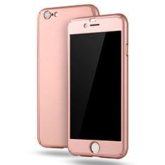 Coque Plastique Mat Protection Integrale 360 Degres Avant et Arriere Etui Housse M02 pour Apple iPhone 6S Plus Or Rose