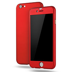 Coque Plastique Mat Protection Integrale 360 Degres Avant et Arriere Etui Housse M02 pour Apple iPhone 6S Plus Rouge
