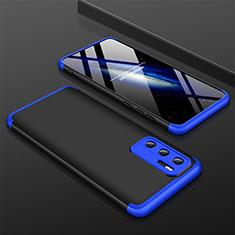 Coque Plastique Mat Protection Integrale 360 Degres Avant et Arriere Etui Housse M02 pour Huawei P40 Bleu et Noir