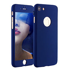 Coque Plastique Mat Protection Integrale 360 Degres Avant et Arriere Etui Housse P01 pour Apple iPhone 7 Bleu