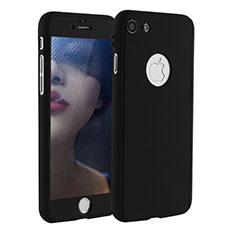 Coque Plastique Mat Protection Integrale 360 Degres Avant et Arriere Etui Housse P01 pour Apple iPhone 7 Noir
