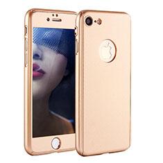 Coque Plastique Mat Protection Integrale 360 Degres Avant et Arriere Etui Housse P01 pour Apple iPhone 7 Or