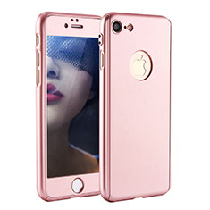Coque Plastique Mat Protection Integrale 360 Degres Avant et Arriere Etui Housse P01 pour Apple iPhone 7 Or Rose