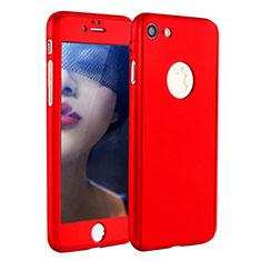 Coque Plastique Mat Protection Integrale 360 Degres Avant et Arriere Etui Housse P01 pour Apple iPhone 7 Rouge
