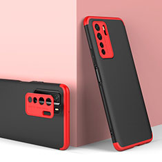 Coque Plastique Mat Protection Integrale 360 Degres Avant et Arriere Etui Housse P01 pour Huawei P40 Lite 5G Rouge et Noir
