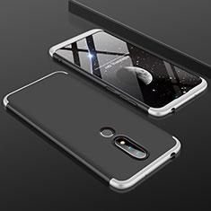 Coque Plastique Mat Protection Integrale 360 Degres Avant et Arriere Etui Housse P01 pour Nokia 6.1 Plus Argent