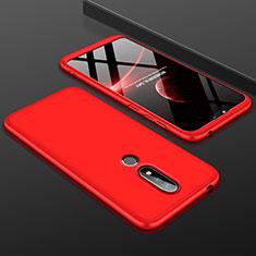 Coque Plastique Mat Protection Integrale 360 Degres Avant et Arriere Etui Housse P01 pour Nokia 6.1 Plus Rouge