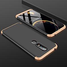 Coque Plastique Mat Protection Integrale 360 Degres Avant et Arriere Etui Housse P01 pour Nokia X6 Or et Noir