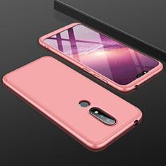 Coque Plastique Mat Protection Integrale 360 Degres Avant et Arriere Etui Housse P01 pour Nokia X6 Or Rose