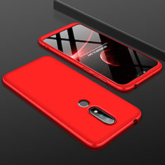 Coque Plastique Mat Protection Integrale 360 Degres Avant et Arriere Etui Housse P01 pour Nokia X6 Rouge