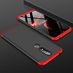 Coque Plastique Mat Protection Integrale 360 Degres Avant et Arriere Etui Housse P01 pour Nokia X6 Rouge et Noir