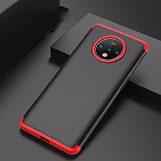 Coque Plastique Mat Protection Integrale 360 Degres Avant et Arriere Etui Housse P01 pour OnePlus 7T Rouge et Noir
