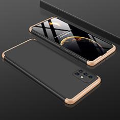 Coque Plastique Mat Protection Integrale 360 Degres Avant et Arriere Etui Housse P01 pour Samsung Galaxy A51 5G Or et Noir
