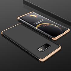 Coque Plastique Mat Protection Integrale 360 Degres Avant et Arriere Etui Housse P01 pour Samsung Galaxy S10e Or et Noir