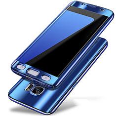 Coque Plastique Mat Protection Integrale 360 Degres Avant et Arriere Etui Housse P01 pour Samsung Galaxy S7 Edge G935F Bleu