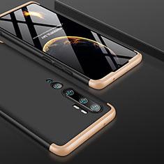 Coque Plastique Mat Protection Integrale 360 Degres Avant et Arriere Etui Housse P01 pour Xiaomi Mi Note 10 Or et Noir