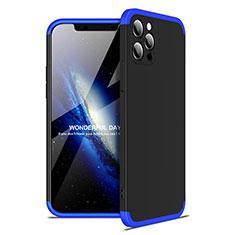 Coque Plastique Mat Protection Integrale 360 Degres Avant et Arriere Etui Housse pour Apple iPhone 12 Pro Max Bleu et Noir