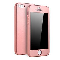 Coque Plastique Mat Protection Integrale 360 Degres Avant et Arriere Etui Housse pour Apple iPhone 5 Or Rose
