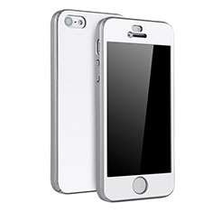 Coque Plastique Mat Protection Integrale 360 Degres Avant et Arriere Etui Housse pour Apple iPhone 5S Argent