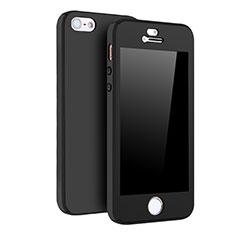 Coque Plastique Mat Protection Integrale 360 Degres Avant et Arriere Etui Housse pour Apple iPhone 5S Noir