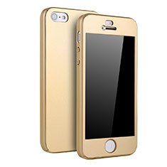 Coque Plastique Mat Protection Integrale 360 Degres Avant et Arriere Etui Housse pour Apple iPhone 5S Or
