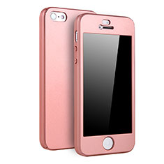 Coque Plastique Mat Protection Integrale 360 Degres Avant et Arriere Etui Housse pour Apple iPhone 5S Or Rose