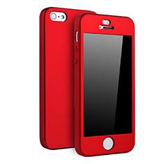 Coque Plastique Mat Protection Integrale 360 Degres Avant et Arriere Etui Housse pour Apple iPhone 5S Rouge