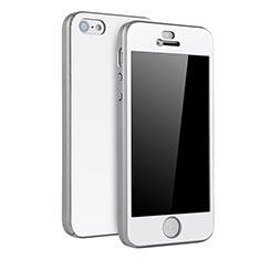 Coque Plastique Mat Protection Integrale 360 Degres Avant et Arriere Etui Housse pour Apple iPhone SE Argent