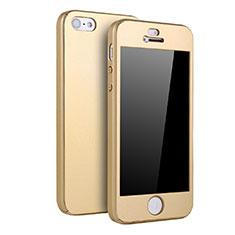 Coque Plastique Mat Protection Integrale 360 Degres Avant et Arriere Etui Housse pour Apple iPhone SE Or