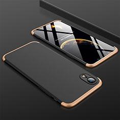 Coque Plastique Mat Protection Integrale 360 Degres Avant et Arriere Etui Housse pour Apple iPhone XR Or et Noir