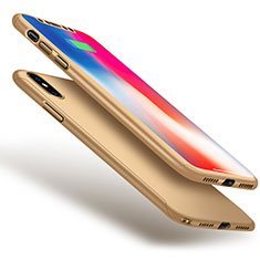 Coque Plastique Mat Protection Integrale 360 Degres Avant et Arriere Etui Housse pour Apple iPhone Xs Max Or
