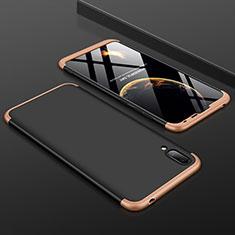 Coque Plastique Mat Protection Integrale 360 Degres Avant et Arriere Etui Housse pour Huawei Enjoy 9 Or et Noir