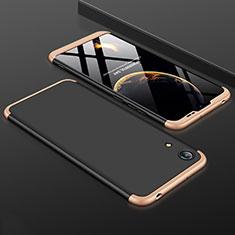 Coque Plastique Mat Protection Integrale 360 Degres Avant et Arriere Etui Housse pour Huawei Honor 8A Or et Noir