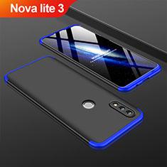 Coque Plastique Mat Protection Integrale 360 Degres Avant et Arriere Etui Housse pour Huawei Nova Lite 3 Bleu et Noir