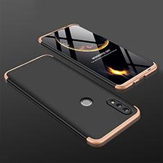 Coque Plastique Mat Protection Integrale 360 Degres Avant et Arriere Etui Housse pour Huawei P Smart (2019) Or et Noir