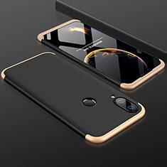 Coque Plastique Mat Protection Integrale 360 Degres Avant et Arriere Etui Housse pour Huawei P Smart+ Plus Or et Noir